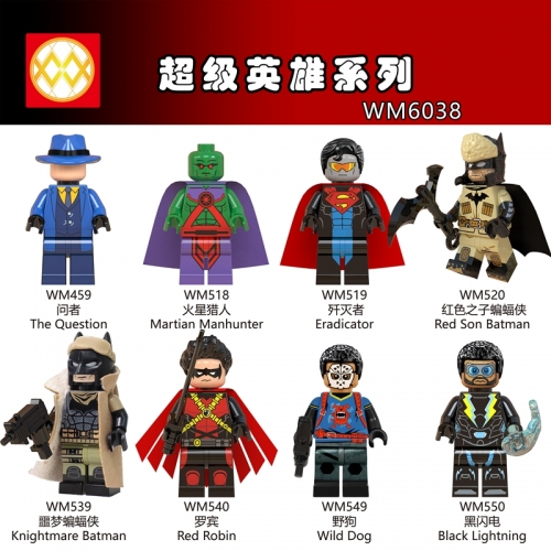 WM6038 Black Lightning Red Son Knightmare Batman Red Robin The Question Wild Dog  DC Super Heroes Building Blocks Bricks Toys For Children Friends