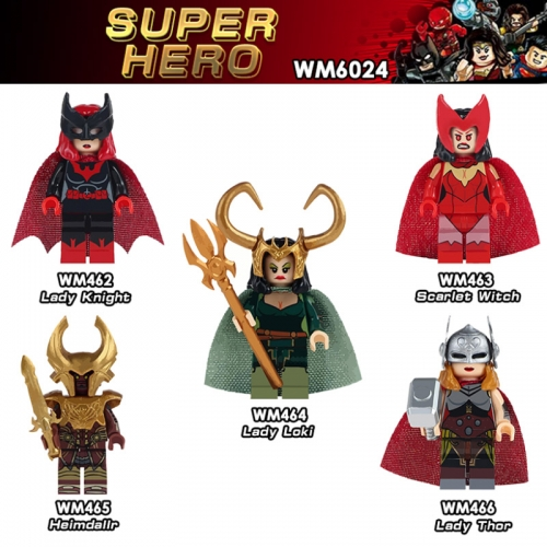 WM6024 Super heroes Lady Loki Scarlet Witch Lady Thor  Knight minifgures Building Block Toys