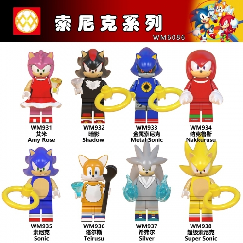 Hot Sale WM6086 Cartoon Metal Super Sonic Nakkurusu Shadow Silver Amy Rose Teirusu Building Blocks toys for Children