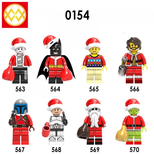 X0154  Joker  Batman  Christmas Boy  Willie  Jango Fett  Clone Soldier  Skeleton Jack  GreenchAction Figure Building Blocks Kids Educational Toys For