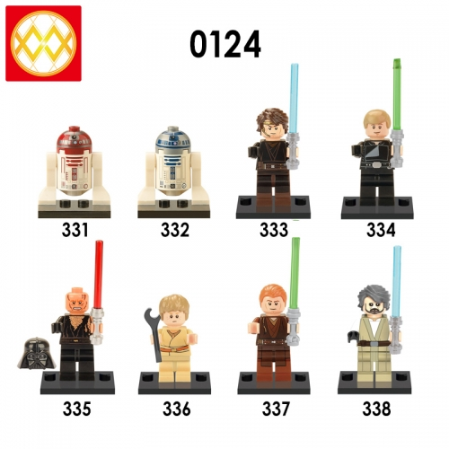 X0124  Starwars Machine bucket Darth Vader  Blue R2D2 Anakin Luke Leia Stormtrooper series Building blocks for children toys