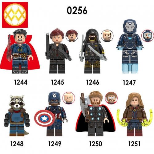 X0256 Marvel Super Heroes Doctor Strange Black Widow Hawkeye Pepper Rocket Raccoon Captain America Thor Captain Marvel  XH1251 Avengers Bricks Buildin
