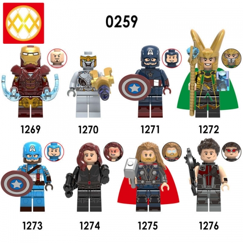 X0259 Marvel Super Heroes Iron Man Chitauri Captain America Loki Black Widow Thor Hawkeye  XH1276 Avengers Bricks Building Blocks Figures Gifts For Ch