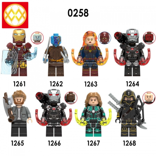 X0258 Marvel Super Heroes Iron Man Nebula Captain Marvel Thor War Machine Hawkyey  XH1268 Avengers Bricks Building Blocks Figures Gifts For Children T