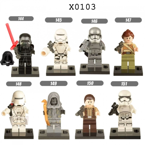 X0103  Starwars Karen Rey Finn Snow Skywalker soldiers Machine bucket Darth Vader  Leia Stormtrooper series Building blocks for children toys