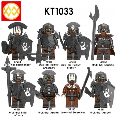 KT1033 Lord of the Rings Uruk-hai Commander Heavy Crossbow Infantry Shaman Rifle Infantry Archer Berserker Assault Assembled Building Block Figures To