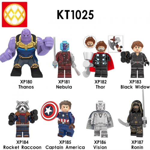 KT1025 Captain America Vision Black Widow Thanos Nebula Thor Rocket Ronin Assembled Building Block Figures Toys For Kids Children Gifts