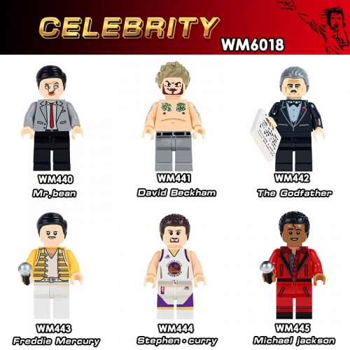 WM6018  Celebrity Famous People Mr Bean David Beckham Michael  The God father Freddie Mercury Stephen Curry  minifgures Building Block Toys