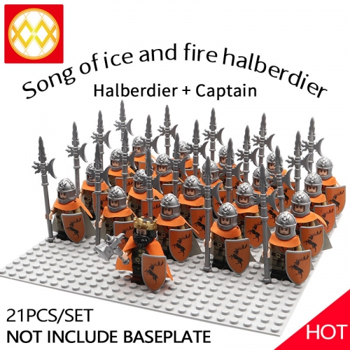 WM1250 21pcs/lot Game of Thrones Lord of the Rings The song of ice and fire Soldier brigade Building blocks for children's toys