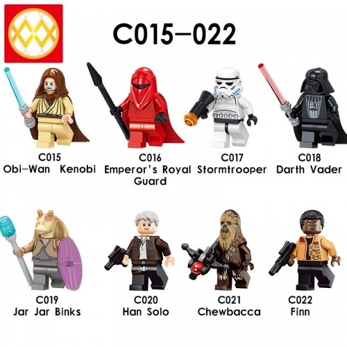 Obi-wan Emperor's Royal Guard Darth Vader Jar Jar Binks Han Solo Chewbacca Finn  Building Block Toys