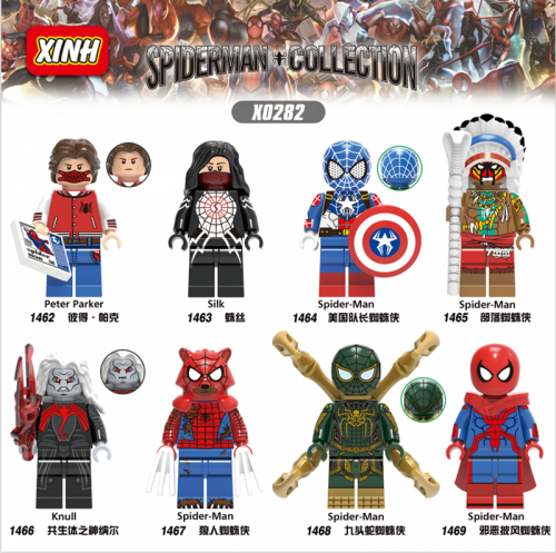 Hot Sale Spiderman Collection Silk Peter Knull ABS Figures Bricks Building Blocks Children Toys X0282
