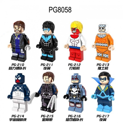 PG8058 Super Heroes  Spider Man Wolverine Captain Boomerang Nightwing Piledriver Bulldozer Punisher  Building Blocks Figures Toys For Kids