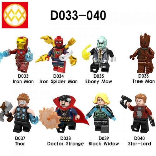D033-040 Super Heroes Iron man Spider man Groot Thor Doctor Strange Black Widow Star-lord  Building Blocks Figures Toys For Kids