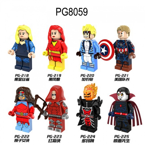 PG8059 Super Heroes Captain America Black Canary Dark Phoenix Cannonball Atom Red Arrow Dormammu Mr. Sinister  Building Blocks Figures Toys For Kids