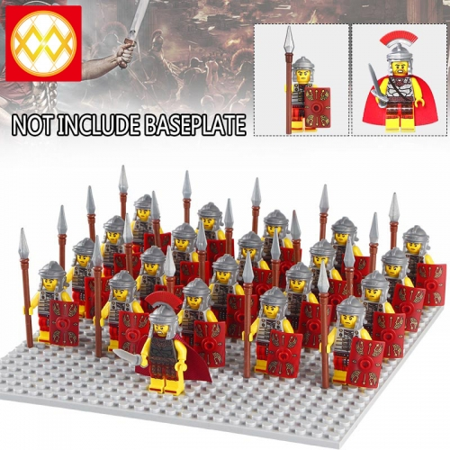 21PCS/SET WM1009 HOT SALE Rome Medieval Knights Commander Centurion Spartacus Crusader Heavy Infantry Arvoesine Building Blocks Gift