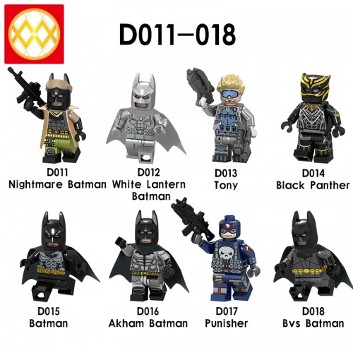 D011-018 Super Hero DC Nightmare Akham  Batman Tiny  Black Panther Punisher  Building Blocks Figures Toys For Kids