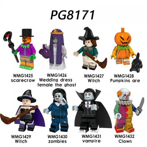 PG8171 Scarecrow Wedding Dress Female the Ghost Witch Pumpkins are Zombies Vampire Clown Building Blocks Bricks Toys For Children