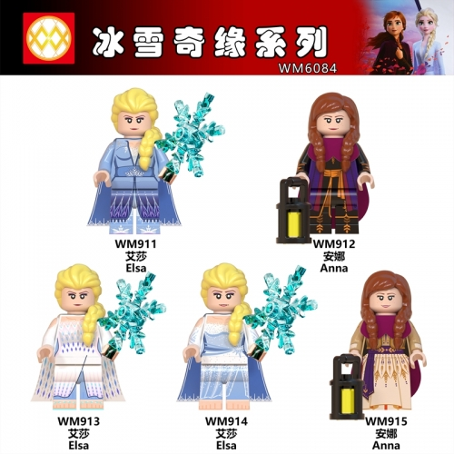 Hot Sale WM6084 Frozen 2 Anna Elsa Queen ABS Figures Bricks Building Blocks Children Toys