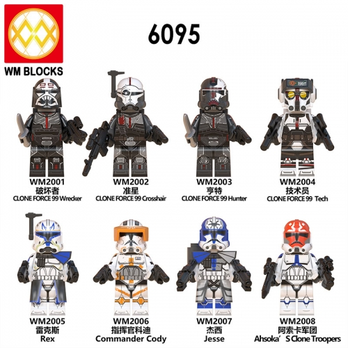 IN STOCK WM6095 Hot Star Wars Jesse Clone Force 99 Wrecker Crosshair Tech Action Figure Head Toys Starwars MOC Building Blocks Kids Toys