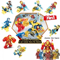 8pcs/set DLP9093 Super Hero 7 IN 1 Ironman Thanos War Machine MOC Building Blocks Gifts Toys