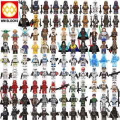 8pcs/set WM6098 WM6094 WM6095 KT1042  WM6091 Hot Star Wars Jesse Baby Yoda Skywalker Mandalorian Crosshair Tech Action Figure Head Toys Starwars MOC B