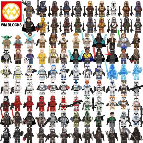 8pcs/set WM6098 WM6095 KT1042  WM6091 Hot Star Wars Jesse Baby Yoda Skywalker Mandalorian Crosshair Tech Action Figure Head Toys Starwars MOC Building
