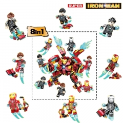 8pcs/set DLP9080 Super Hero 8 IN 1 Ironman set Tony Stark MOC Building Blocks Gifts Toys