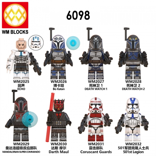 HOT SALE WM6098 Star Echo Bo Katan 501st Legion Coruscant Guards Darth Maul Mini Action Figure Wars Building Blocks Children Toys