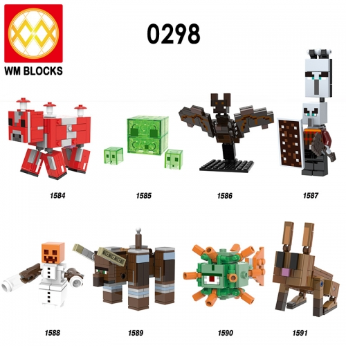 HOT SALE X0298 Mooshrom Slime Bat Pillager Snow Golem Ravager Guardian Rabbit Bunnie Zombie Building Blocks Bricks Gift Figures For Kids Toys