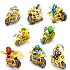 8pcs/set SY7600 Cool Golden Ninjagoing Toys with motorbike Plastic DIY Mini Figure Compatible Brick Toys Gift for kids