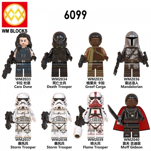 Hot SaleWM6099 Star Cara Dune Moff Gideon Flame Trooper Greef Carga Death Trooper Mandalorian Mini Action Figure Wars Building Blocks Ch