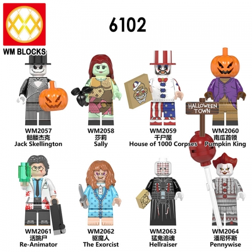 HOT SALE WM6102 Factory New Halloween Horror Movie Jack Sally Freddy Pumpkin Krueger Jason Scream Killer Mini Block Figures Toys