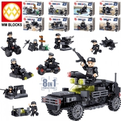 Hot Sale QL0250 Army Group 8 IN 1 Protect Peace Action Diy Animal Series Building Blocks Children Gifts Toys