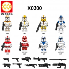HOT SALE X0300 New Star Legion Sergeant Clone Trooper Rex Cody Jesse Warsly Mini Action Figure Building Blocks Toys Gifts