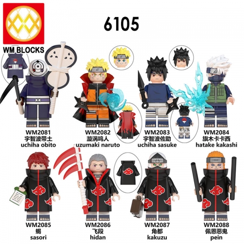 Pre-sale  WM6105 Naruto Action Figures Uzumaki Naruto Uchiha Sasuka Hatake Kakashi Sasori Hidan Kakuzu Collection Building Block Kids Toys