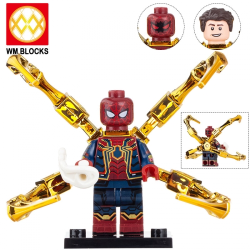 WM705-A Marvel Avengers Super Heroes Bricks Spiderman With Chromed Claws Movie Series Building Blocks toys for Children