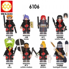 HOT SALE WM6106 Naruto Action Figures Yahiko Konan Nagato Uchiha itachi Zatsu Uchiha Madara  Deidara Hoshigaki Kisame Collection Building Block Kids T