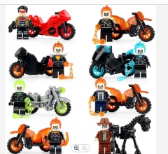 Hot Sale Super Heroes Ghost Rider With Motorcycle Red Hood Mini Building Blocks Action Figures For Children Model Toys LG1002