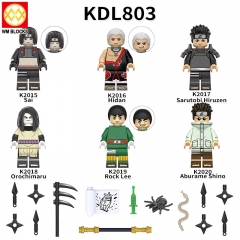 KDL803 Anime Naruto Sai Hidan Sarutobi Hiruzen Orochimaru Rock Lee Aburame Shino Action Figures Building Blocks Toys