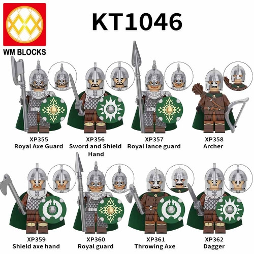 KT1046 Medieval Knight Lord Royal Axe Guard Archer Shield axe Hand Dagger Sword Mini Action Figures Building Blocks Kids Toys
