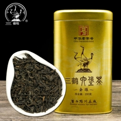 Three Cranes Sanhe 2017 Liu Pao Tea Loose Dark Tea Guangxi Wuzhou Liupao Box Teas Hei Cha Golden Jar 200g