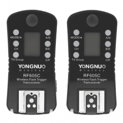 YONGNUO RF605C 2x Wireless Flash Trigger with 2x LS-2.5 Shutter Connecting Cable for Canon Camera(Black)