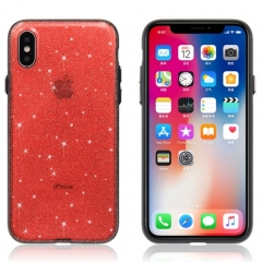 For iPhone X Shimmering Powder PC Protective Back Cover Hard Case (Red)