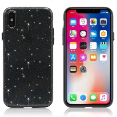 For iPhone X Shimmering Powder PC Protective Back Cover Hard Case(Black)