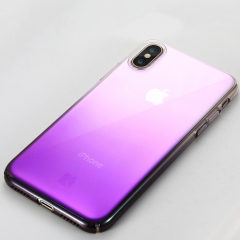 FLOVEME iPhone X Hard PC Plating Gradient Color Protective Case Back Cover (Purple)