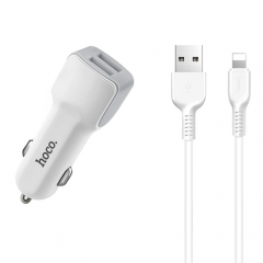hoco Z23 12W Dual-port Fast Car Charger Set with 8 Pin Cable, For iPhone, Galaxy, Sony, Lenovo, HTC, Huawei, and other Smartphones (White)