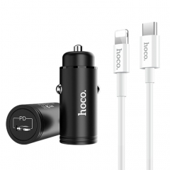 hoco Z19 PD 18W Single Port Fast Car Charger Set with 8 Pin Cable, For iPhone X / iPhone 8 & 8 Plus / iPhone 7 & 7 Plus / iPhone 6 & 6s / iPhone 6 Plus & 6s Plus (Black)