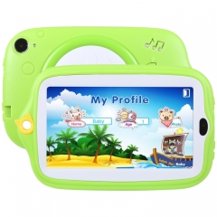 Kids Education Tablet PC, 7.0 inch, 512MB+8GB, Android 4.4 Allwinner A33 Quad Core, WiFi / Bluetooth, with Holder Silicone Case(Green)