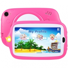 Kids Education Tablet PC, 7.0 inch, 512MB+8GB, Android 4.4 Allwinner A33 Quad Core, WiFi / Bluetooth, with Holder Silicone Case(Pink)