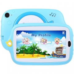 Kids Education Tablet PC, 7.0 inch, 512MB+8GB, Android 4.4 Allwinner A33 Quad Core, WiFi / Bluetooth, with Holder Silicone Case(Blue)